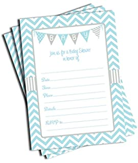 Amazon 30 baby shower invitations boy with envelopes baby 50 blue boy baby shower invitations and envelopes large size 5x7 filmwisefo