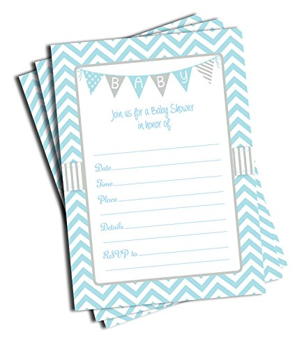 50 Blue Boy Baby Shower Invitations and Envelopes (Large Size 5x7) ()