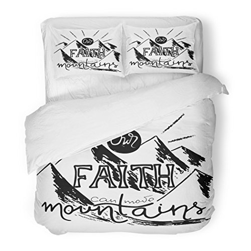SanChic Duvet Cover Set Our Faith Can Move Mountains Inspirational Motivational Quote in Christian Religion Words About God Decorative Bedding Set Pillow Sham Twin Size by SanChic