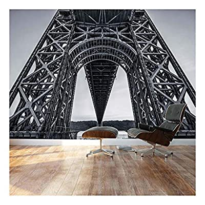 Stark Black and White Geometric Bridge Architecture - Landscape - Wall Mural, Removable Sticker, Home Decor - 66x96 inches