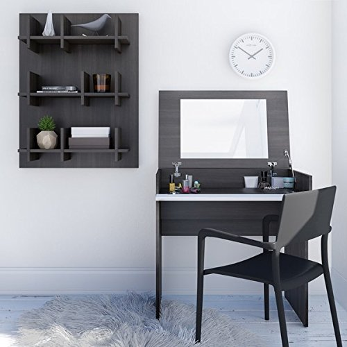 Vanity with Enclosed Mirror Opening Lid Storage to Store Away All Beauty Products by AVA Furniture