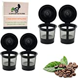 SwayInc (4 Pack) Reusable Coffee Filters - Single Cup Solo Filter Pod Coffee Stainless Mesh compatible with Keurig