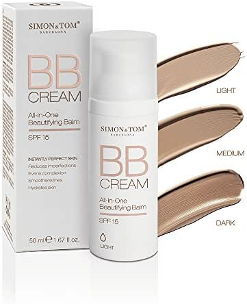 Simon & Tom All-in-One Beautifying Balm with SPF 15 Hydrating & Anti-Imperfection BB Cream (Light) 1.67 fl.oz.