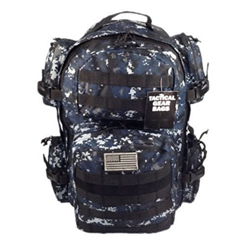 (NPUSA Men's Large Expandable Tactical Molle Hydration ReadyBackpack Daypack Bag - ACU Navy Digital)
