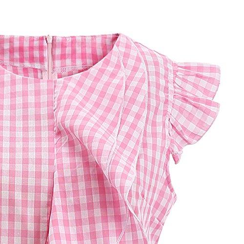 ff95cdc5a8582f AOMEI Women Sleeveless Plaid Blouses Ruffles Vintage Gingham Peplum Top  Shirts