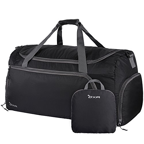 OXA Lightweight Foldable Travel Duffel Bag with Shoes Bag, Black