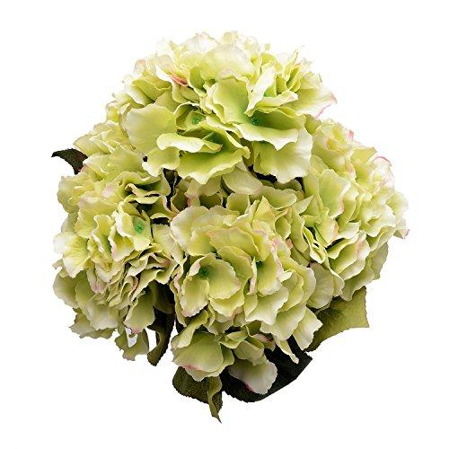 derker silk artificial hydrangea bouquet 5 big heads hydrangea flowers arrangement home wedding centerpieces decoration green