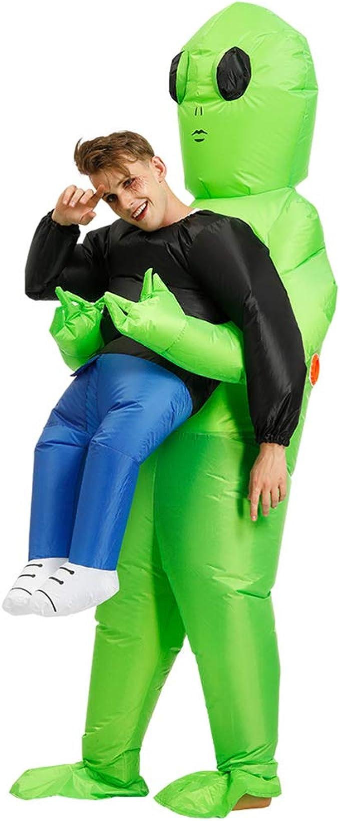 QUEENBACK Disfraz de Alien Verde Llevar a un ser Humano, Inflable ...