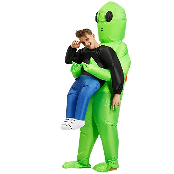 QUEENBACK Disfraz de Alien Verde Llevar a un ser Humano ...