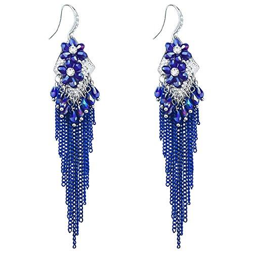 Bohemian Long Tassel Crystal Flower Women Handmade Tribal Chandelier Beaded Dangle Earrings Sapphire Blue