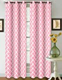 1 Set Light Pink White 95'' Geometric Lined Blackout Grommet Window Curtain