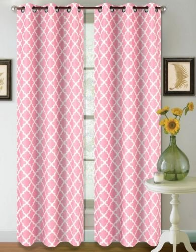 1 Set Light Pink White 95'' Geometric Lined Blackout Grommet Window Curtain by Modern Curtain