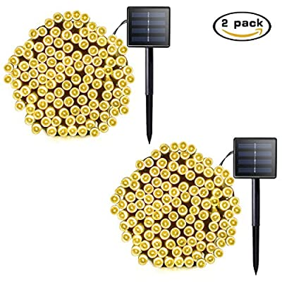 Lalapao 2 Pack Solar String Lights 72ft 22m 200 LED 8 Modes Solar Powered Starry Lighting Waterproof Christmas Fairy String Lights for Outdoor Gardens Path Homes Wedding Party Decor (Warm White)