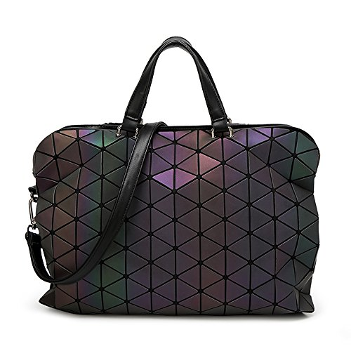 HotOne Shard Lattice Design Women luminous purse leather Briefcase Laptop Tote Bag For 15 - 15.6 Inch Macbook(Large) (Quilted Bag Black Laptop)
