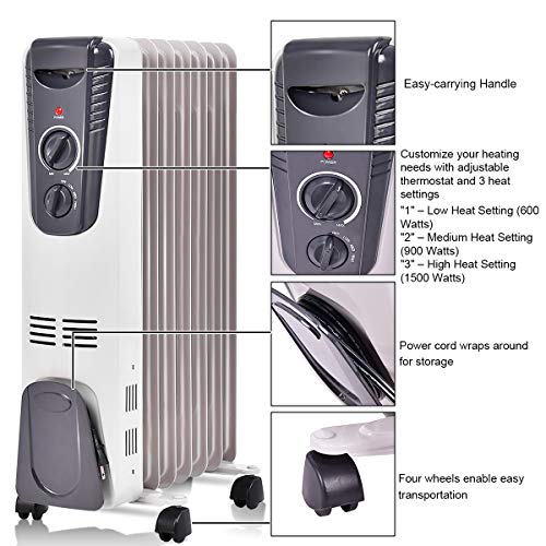 Tangkula Electric Oil Heater 1500w Home Office Bathroom