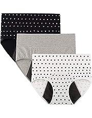 INNERSY Women's Menstrual Period Panties Hi-Waist Leak-Proof Cotton Briefs 3-Pack