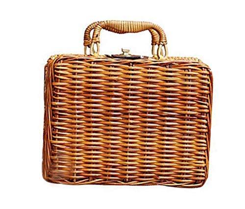 (GETUPP Vintage Rattan Handbag Handmade Tote Weave Purse Straw Beach Bag for Women, Brown, One Size)