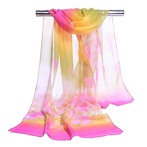 Women's Chiffon Scarf Flower Printed Warm Soft Scarves, 5 pcs, 16050cm , rose red , one - Blue Gold Kors Face Rose Michael