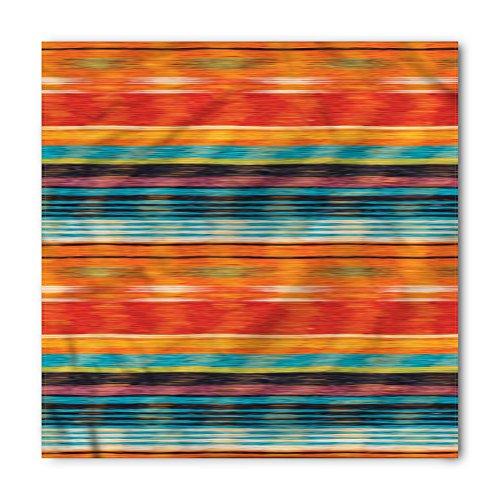 Lunarable Unisex Bandana, Mexican Vintage Aztec Motifs Lines, Orange