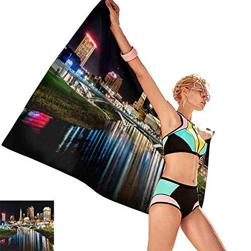 homehot Luxury Hotel & Spa Bath Towel Columbus Ohio Night Skyline from The The Main Street Bridge,W20 xL39 for - Heavyweight Ohio Gloves