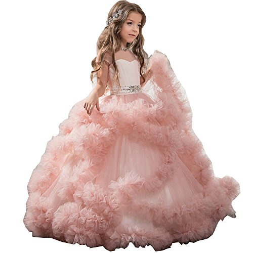 Ikerenwedding Flower Girls Beaded Ruffles Tulle Princess Gown With Sash Pink Size 10