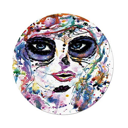 Polyester Round Tablecloth,Sugar Skull Decor,Halloween Girl with Sugar Skull Makeup Watercolor Painting Style Creepy Decorative,Multicolor,Dining Room Kitchen Picnic Table Cloth Cover,for Outdoor Ind for $<!--$21.66-->