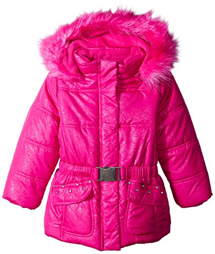 Rothschild Little Girls' Lace Print Puffer Coat, Rubilight Lace, - Rothschild Print Coat