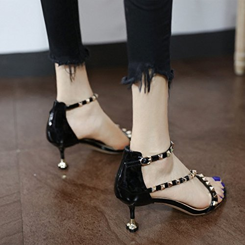 4d3b3eef QWER Sandalias de Mujer Pequeña terraza de Verano Cat Zapatos y Sandalias  Paquete Europeo y Americano