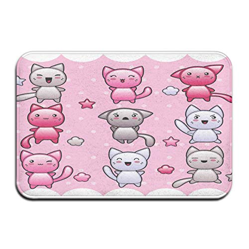 Memory Foam Bath Mat Non Slip Absorbent Super Cozy Plush Bathroom Rug Carpet,Cute Kitty Doodles with Emotions Funny Animal Lover Theme Japanese Art Print,Decor Door Mat 23.6 X 15.7 Inches