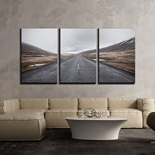 Landscape with Empty Highway in Mountains x3 Panels