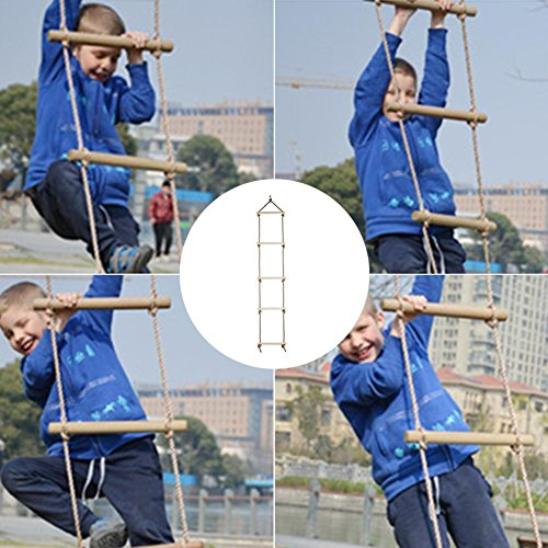 Feileng 5 Steps Climbing Wooden Rope Ladder for Kids Indoor Outdoor Playground by Feileng (Image #1)