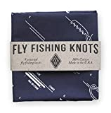 Colter Co. Survival Bandana for Fishing, Camping, Hiking | How to Tie Fly Fishing Knots Print, Navy, 100% Cotton, Made in The USA