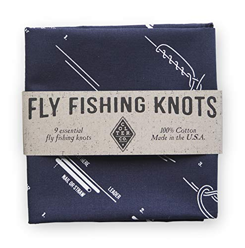 Colter Co. Survival Bandana for Fishing, Camping, Hiking | How to Tie Fly Fishing Knots Print, Navy, 100% Cotton, Made in The USA by Colter Co.
