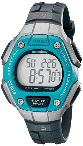 Timex Women's Ironman 30-Lap Digital Quartz Mid-Size Watch, Black/Silver-Tone/Blue - TW5K89300 (Timex Kids Ironman Watch)