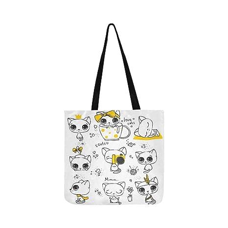 Set Gatos lindos Diseño simple Lienzo Tote Bolso Bandolera ...