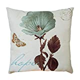 Pgojuni Plant Pattern Flax Pillowcase Decorative Throw Pillow Cover Cushion Cover Pillow Case for Sofa/Couch 1pc (45X45 cm) (A)