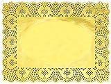 Gold Foil Rectangle Lace Paper Doilies Cake