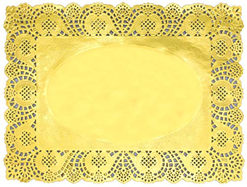 (Gold Foil Rectangle Lace Paper Doilies Cake Packaging Golden Paper Mat Doily 15.7X11.8 Inch (100)