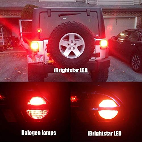 iBrightstar Newest 9-30V Flashing Strobe Blinking Brake Lights 1157 2057  2357 7528 BAY15D LED Bulbs with Projector replacement for Tail Brake Stop