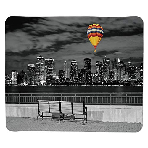 SCOCICI Gaming Locking Mouse Pad,NYC Skyline from State Park Air Balloon in Sky Customized Rectangle Non-Slip Rubber Mousepad Gaming Mouse Pad 11.8