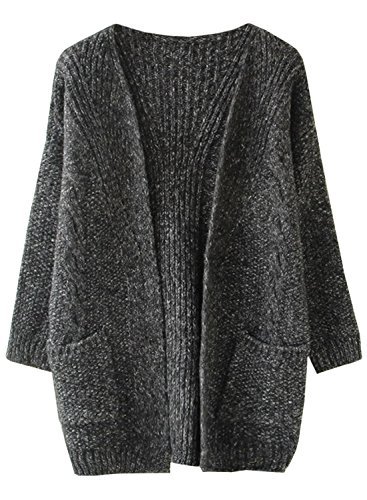 Futurino Women's Cable Twist School Wear Boyfriend Pocket Open Front Cardigan (one size, Dark Grey),One Size,Dark Grey,One Size
