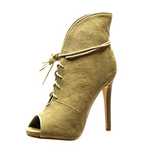 Angkorly Women's Fashion Shoes Ankle boots - Booty - stiletto - sexy Stiletto high heel 12.5 CM Khaki fmeFNo