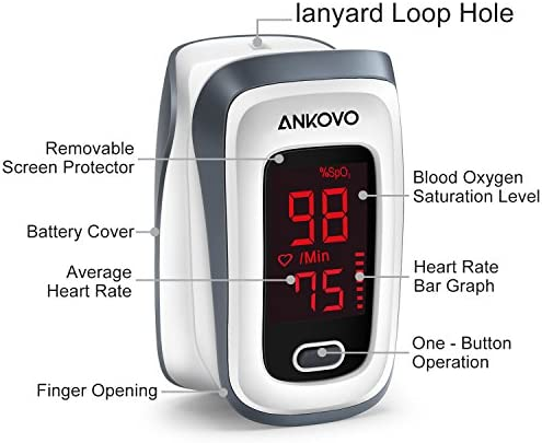 Pulse Oximeter Fingertip Blood Oxygen Saturation Monitor Pulse Rate and SpO2 Level Portable with Lanyard and Batteries