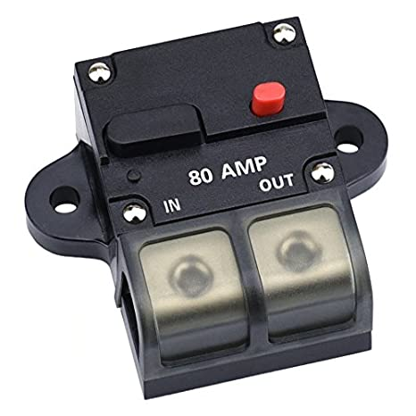 Cllena 80 Amp Circuit Breaker with Manual Reset, 0-8 Gauge Wire Inline on