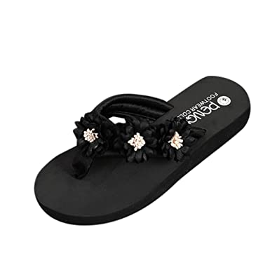 f06662f2515ed RAISINGTOP Fashion Women Flower Anti-Skidding Flat Heel Sandals de Mujer Slippers  Beach Shoes Juniors