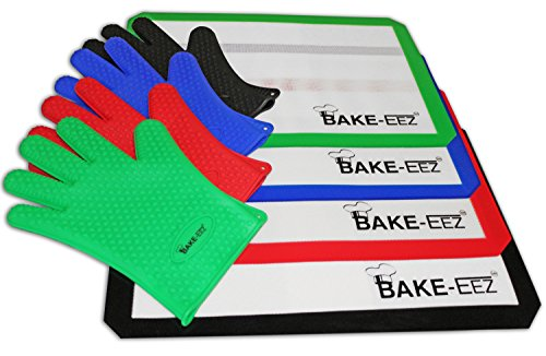 "UPC 700667128580, Silicone Baking Mat with Oven Mitt Set – Non Stick and Heat Resistant – Our Square Half Sheet 16 5/8 X 11"" Mat Is Easy to Clean and Dishwasher Safe - Long Finger Mitt for Easy Grip Included - Protect Your Investment with Our Lifetime Guarantee! (Black)"