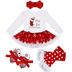 iEFiEL Baby Girls Christmas Picture Skirt Bodysuit Headband Leg Warmer Shoes Set (6-9 Months, Christmas Stocking)