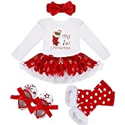 YiZYiF Baby Girls' Reindeer Tutu Costume Crhistmas Party Dress Up (6-9 Months, White First Xmas)