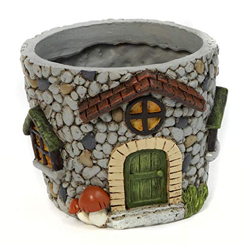 One Holiday Way Whimsical Gnome House Flower Pot Planter Container with Cobblestone - Tabletop Decoration (Green Door)