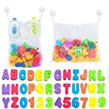 2 x Mesh Bath Toy Organizer + 6 Ultra Strong Hooks + 36 Bath Letters – Eco-Safe, Fun, Educational Foam Baby Bath Letters and Perfect Toy Storage Net for Baby Bath Toys & More